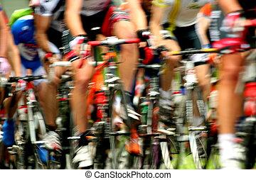 bicicleta, estrada, raça