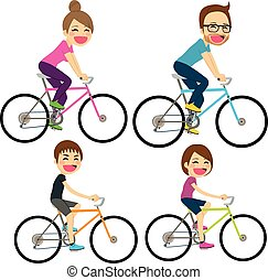 bicicleta, família, feliz