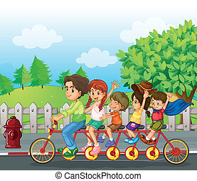 bicicleta, família