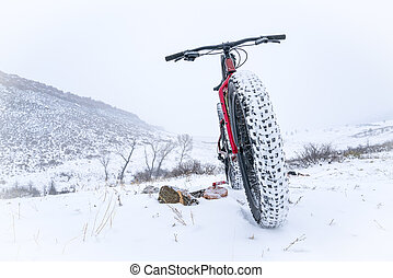 bicicleta, gorda, neve, blizzard