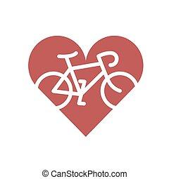 bicicleta, heart., plano, icono