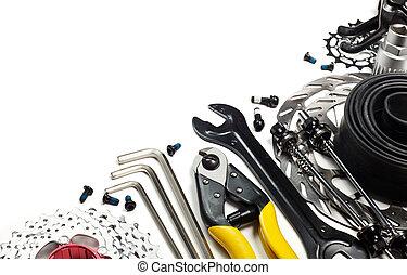 bicicleta, herramientas, y, repuestos