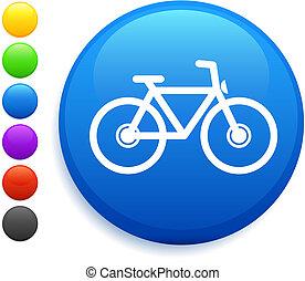 bicicleta, icono, en, redondo, internet, botón