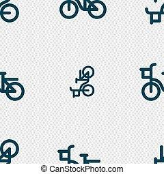 bicicleta, icono, signo., seamless, patrón, con, geométrico, texture., vector