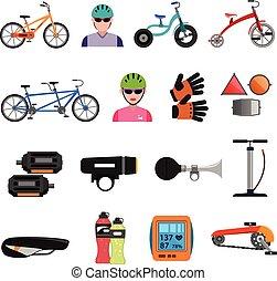 bicicleta, iconos, plano, conjunto
