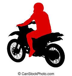 bicicleta, illustration., fondo., siluetas, vector, negro, blanco, deporte