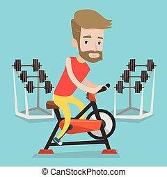 bicicleta, illustration., vector, equitación, inmóvil, hombre