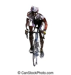 bicicleta, ilustração, cycling., polygonal, vetorial, correndo, estrada