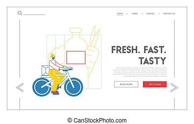 bicicleta, ilustración, expreso, entregar, envío, mensajero...