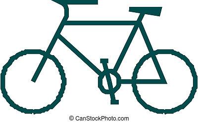 bicicleta, ilustración, icono