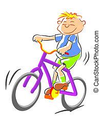 bicicleta, ilustración, niño
