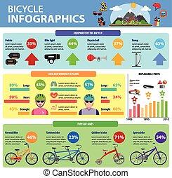 bicicleta, infographics, conjunto