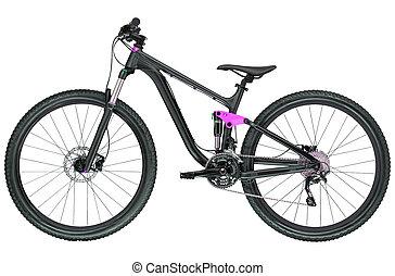 bicicleta, isolado, branco