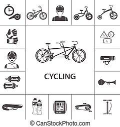 bicicleta, jogo, pretas, ícones