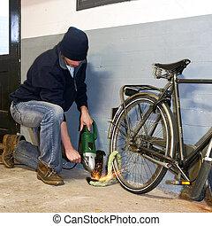 bicicleta, ladrón