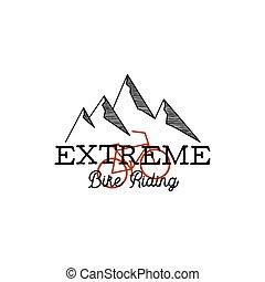 bicicleta, linear, simples, vindima, graphic., -, isolado, extremo, mão, logotipo, citação, vetorial, riding., aventura, ao ar livre, desenhado, insignia., montanhas, estoque