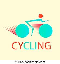 bicicleta, logotipo, template., desenho