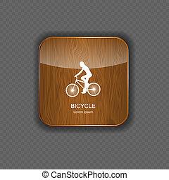 bicicleta, madera, aplicación, iconos