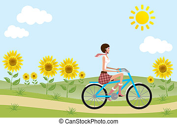 bicicleta, menina, ligado, girassóis