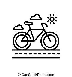 bicicleta, moderno, -, solo, vector, línea, icono