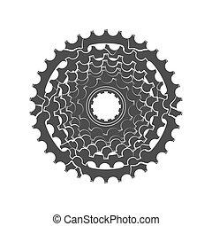 bicicleta, monocromático, roda dentada