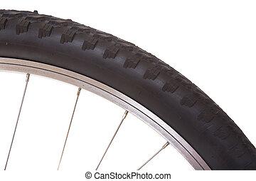 bicicleta montaña, aislado, neumático