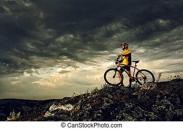 bicicleta montaña, ciclista, equitación, al aire libre