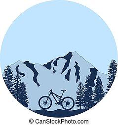 bicicleta montaña, cuesta abajo