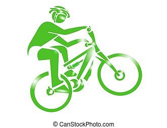 bicicleta montaña, deporte, icono