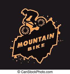 bicicleta montaña, emblem.