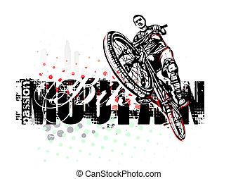 bicicleta montaña, ilustración
