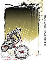 bicicleta montaña, plano de fondo, cartel