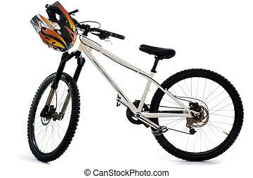 bicicleta montaña, y, casco, para, extremo, equitación