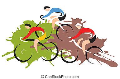 bicicleta montanha, correndo, ciclistas