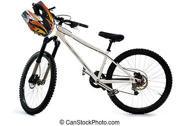bicicleta montanha, e, capacete, para, extremo, montando