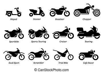 bicicleta, motocicleta, motocicleta, diferente, set., lista, ícone, tipo