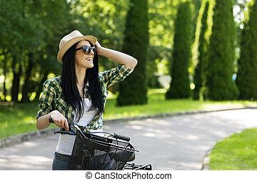 bicicleta, mulher, feliz, jovem