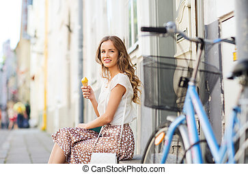bicicleta, mulher, feliz, sorvete