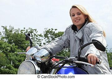 bicicleta, mulher, motor