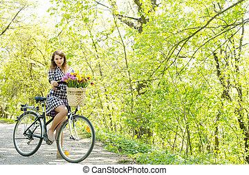 bicicleta, mulher, parque