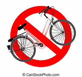 bicicleta, no, señal de tráfico
