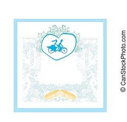 bicicleta, noivo, noiva, tandem, convite, montando, casório