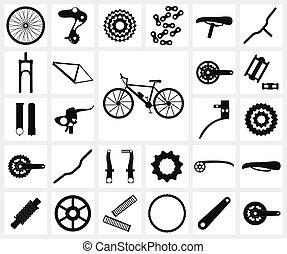 bicicleta, partes, sobrante