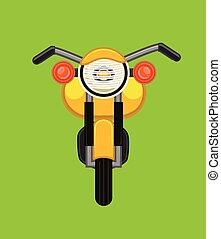 bicicleta, pasado de moda, vector