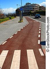 bicicleta, pista, e, passagem pedonal