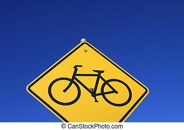 bicicleta, pista, sinal estrada