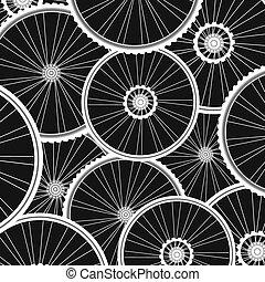 bicicleta, plano de fondo, de, muchos, blanco, ruedas,...