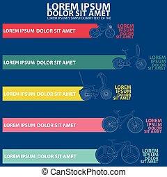 bicicleta, plantilla, para, diagrama, gráfico
