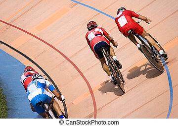 bicicleta, pontos, raça