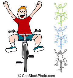bicicleta que cabalga, sin, manos